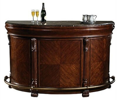 This is really a classic semi- circle wine bar unit with a 12 bottle wine rack and glass stem rack as well as plenty of bottle and accessory storage including a pull-out shelf.