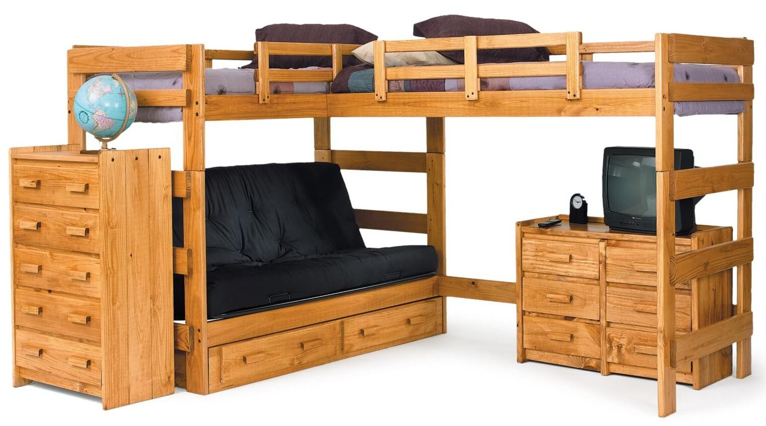 Here's an example of an adjacent L-shape bunk design where the both beds are elevated like a loft bed offering more space underneath... in the this case a small sofa/futon (for more sleeping options) and a full dresser.