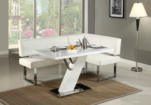 All White Modern L Shaped Breakfast Dining Table Set