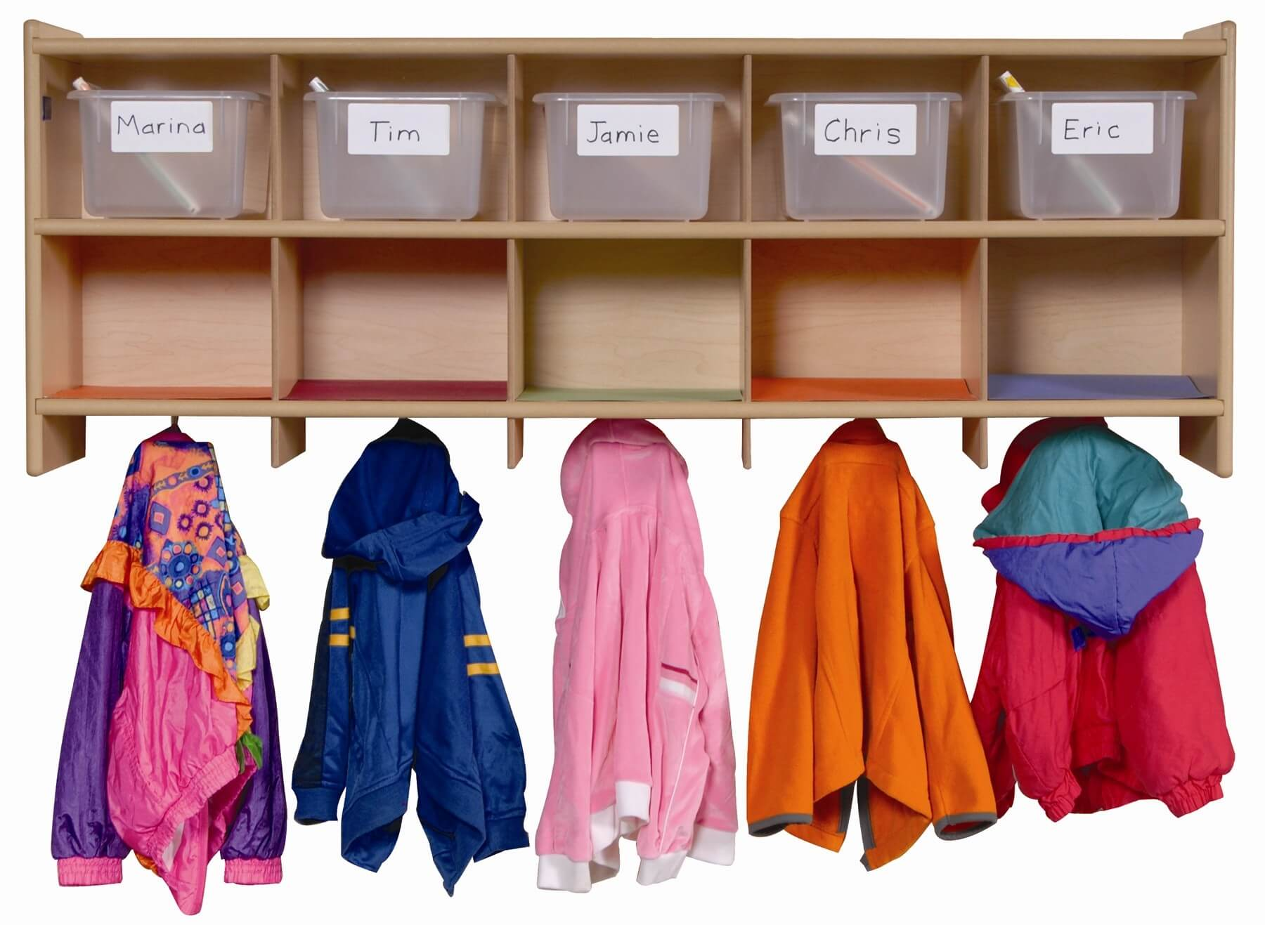 A floating mudroom storage unit, this is for you. It offers floating shelving with hooks underneath for several coats.