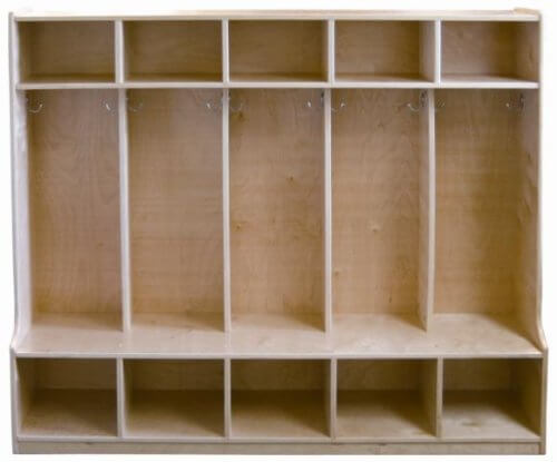 While the image of this cubby locker isn't dressed up with coats and bags, don't disregard it. It's inexpensive and has a very nice feature that many don't have - namely a bench on the lover level, which is super handy and convenient for kids.