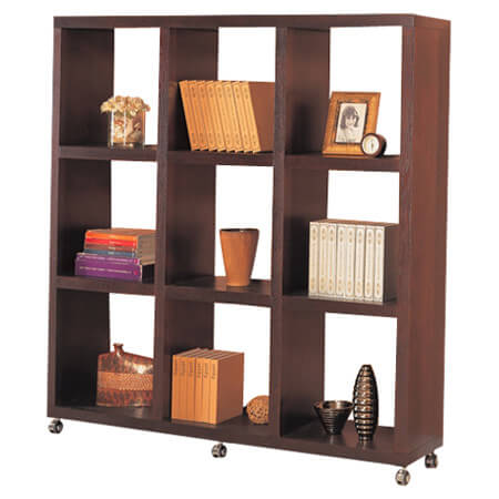 Traditional 9-cube wood bookshelf on wheels