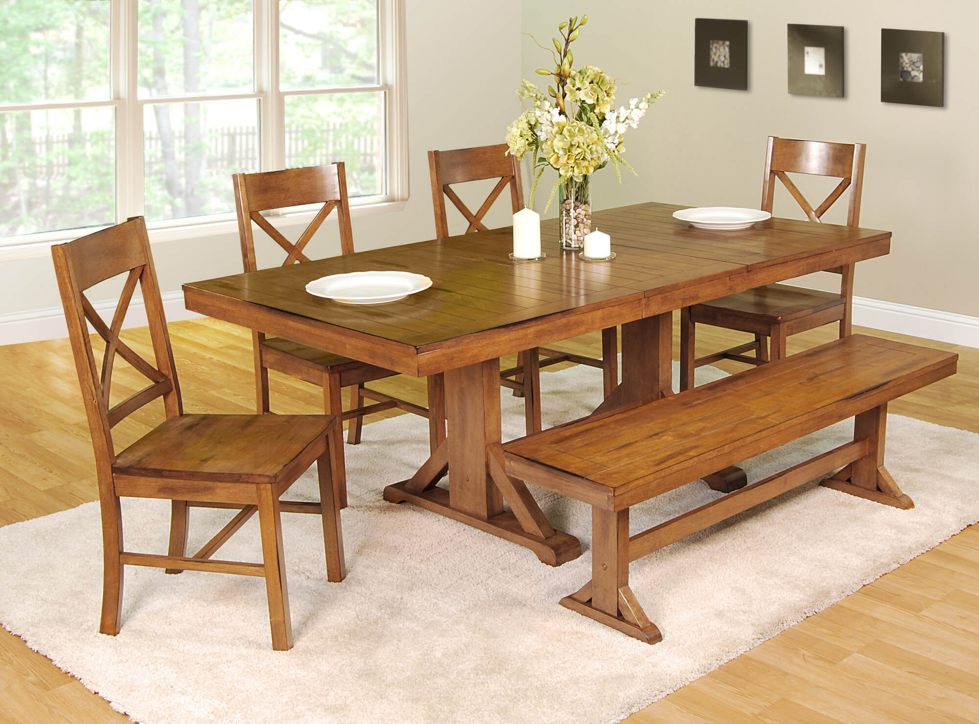 This dining room set with bench is going for the antique look with an antique brown finish that's great for creating a country style dining room (or in-kitchen dining area).
