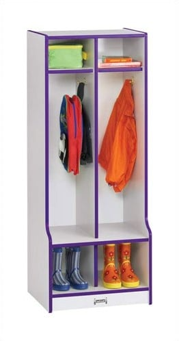 This is a playful kid's locker unit for entry spaces. It's a tad colorful with a purple border. Standing 50.5 inches in height, it's ideal for kids. Like many in our gallery, it has 2 sections, each with 3 levels.