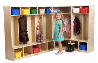 9-unit corner mudroom locker for kids