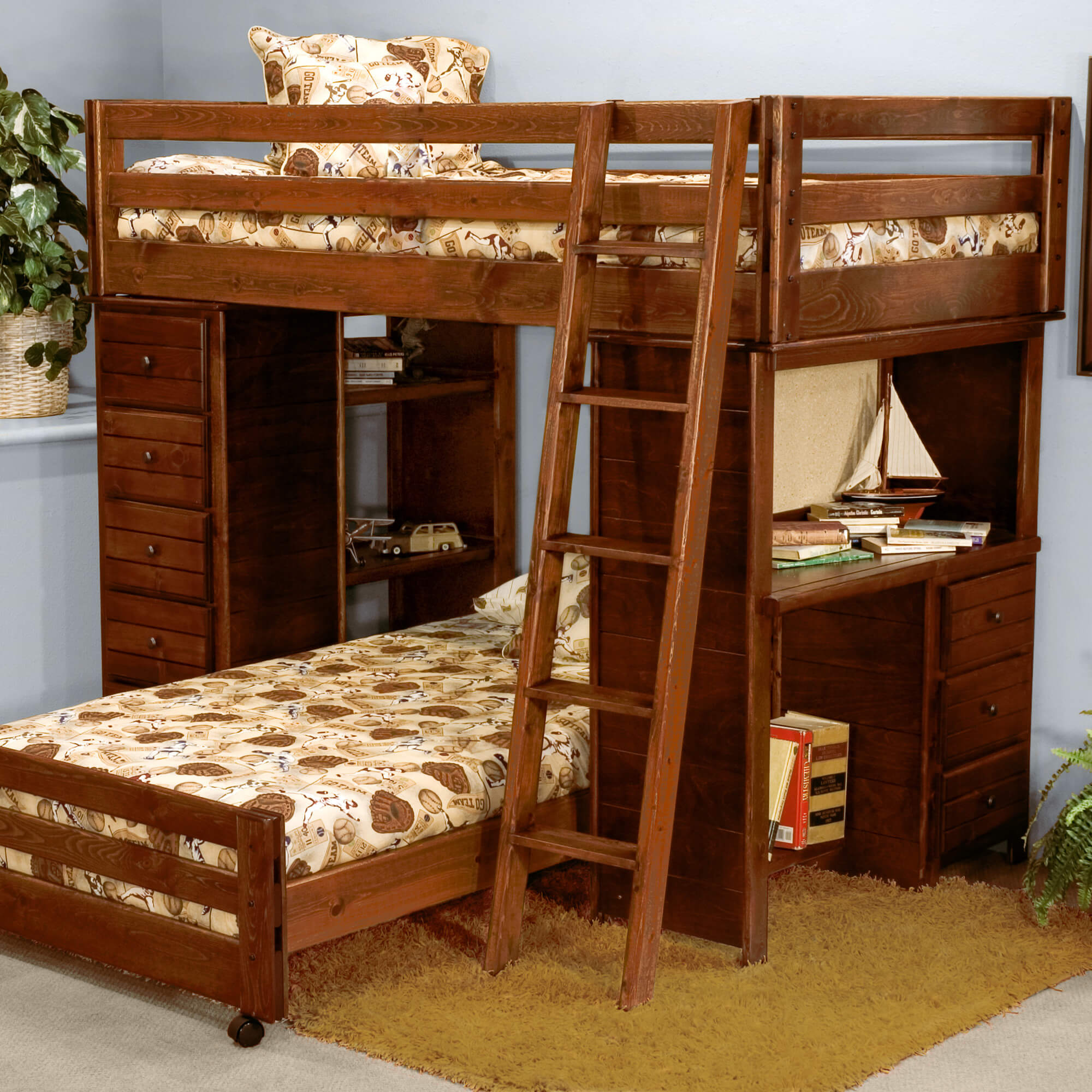This solid ponderosa pine L-shaped bunk bed offers custom configuration because the lower bed is on wheels which means it can be placed elsewhere in the room. The upper bunk is supported by side shelving, drawers and a desk unit.