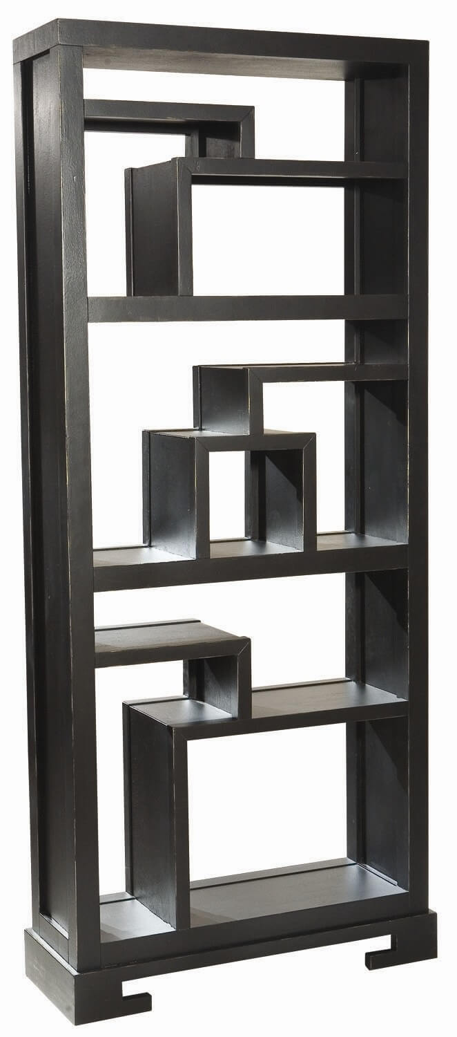 Here's a modern 9-cube asymmetrical shelving unit with 9 cube sections, each of which are different sizes and shapes.