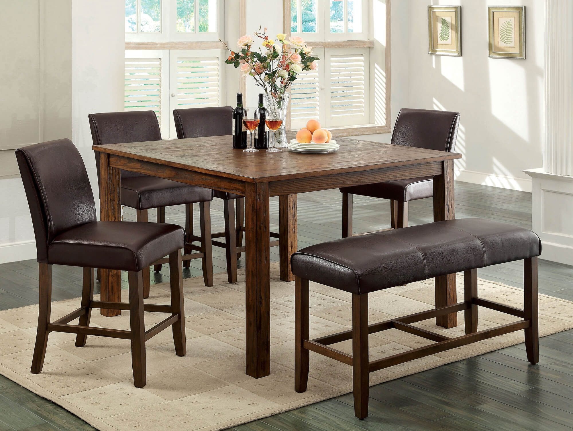 Counter height rustic dining room set with bench. Wood is dark oak finish; constructed with solid wood, MDF and wood veneer. This set is perfect for getting the more rustic and rich dining room décor.