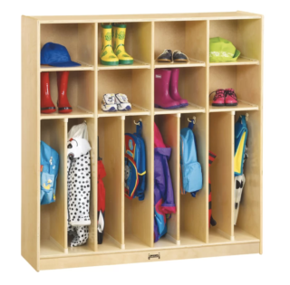 Kids mudroom locker with coat section separator.