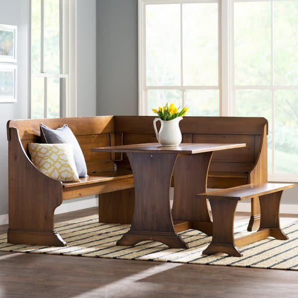 This Set Ramps Up The Elegant Factor With An Almost Shaker Panel Design On  The High Back, Curved Table And Bench Legs And Molding On The Corner Bench.