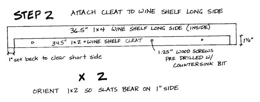 Attach cleats to Wine Shelf long sides