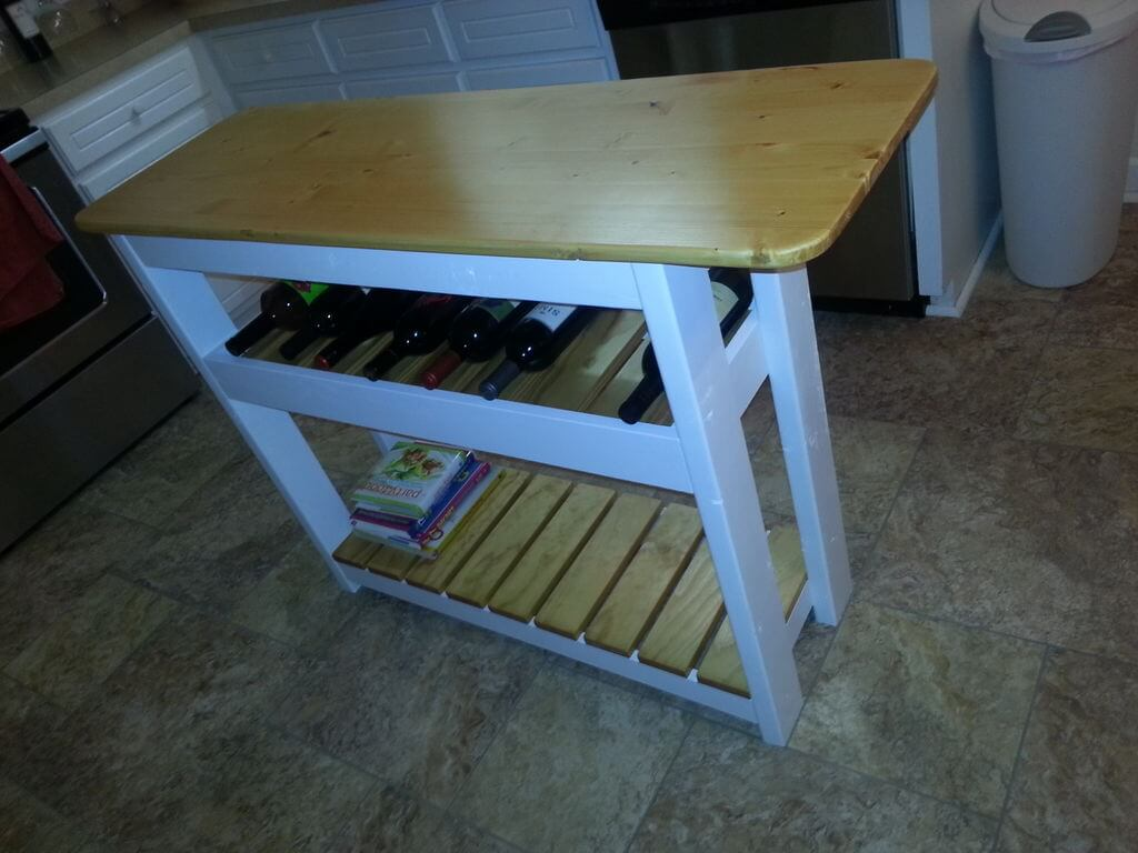 Finished Kitchen Island with Wine Rack