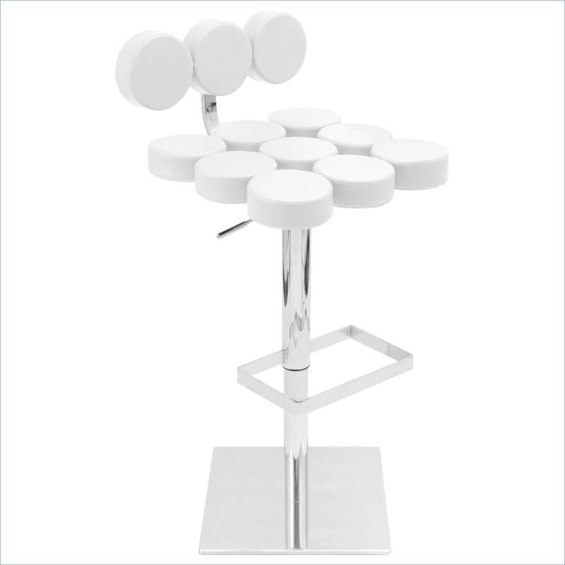 This white modern stool design is definitely unique by creating a back and seat with a series of attached circular upholstered sections. The seat and back are upholstered in leatherette. It swivels and adjusts up and down.