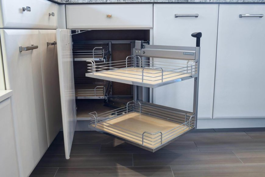 """Here's a look at the """"miracle corner"""" drawers, swiveling out for full access."""