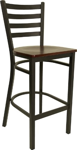 Wood armless stool with a ladder back.