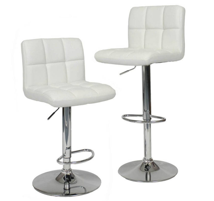 This modern white armless leather stool set comes with 2 stools. Each stool swivels and adjusts up and down.
