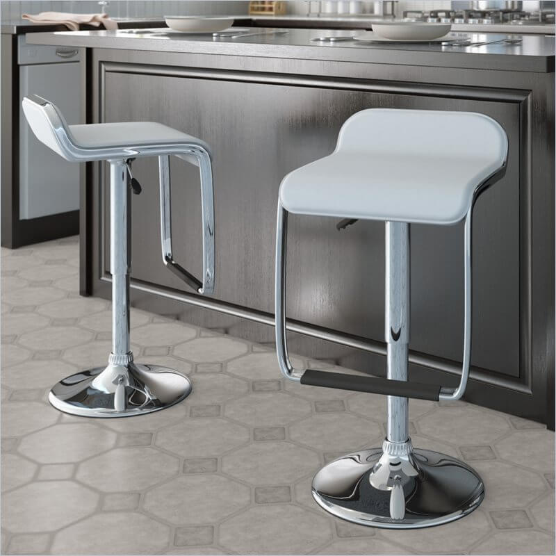 This stool comes in a set of two. They're a low-back design with a wide foot rest that includes a rubber wrap for preventing your feet from slipping off the foot rest (a nice functional and aesthetic design feature).
