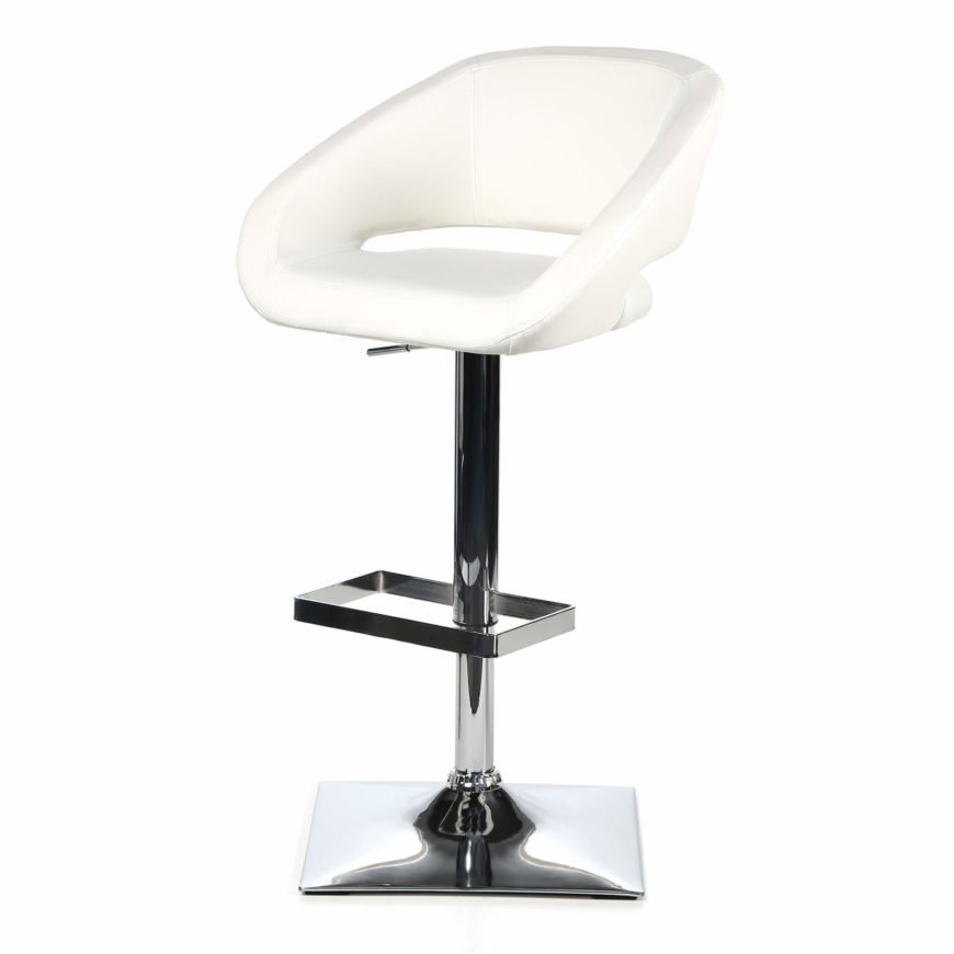 This white modern stool mixes curved edges with straight lines creating a dichotomy in design. The seat and back consist of round and curved lines while the foot rest and base are square lines. This stool adjusts up and down.