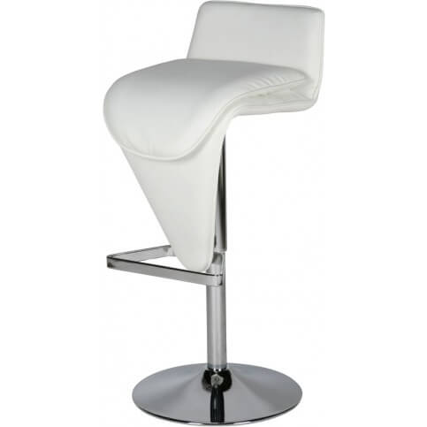 """When looking at this modern stool, I can't help but coin it as a """"tongue-style"""" design with the seating extending down to the triangle foot rest."""