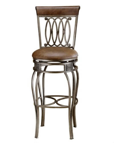 This ornate bar stool has a faux leather seat.