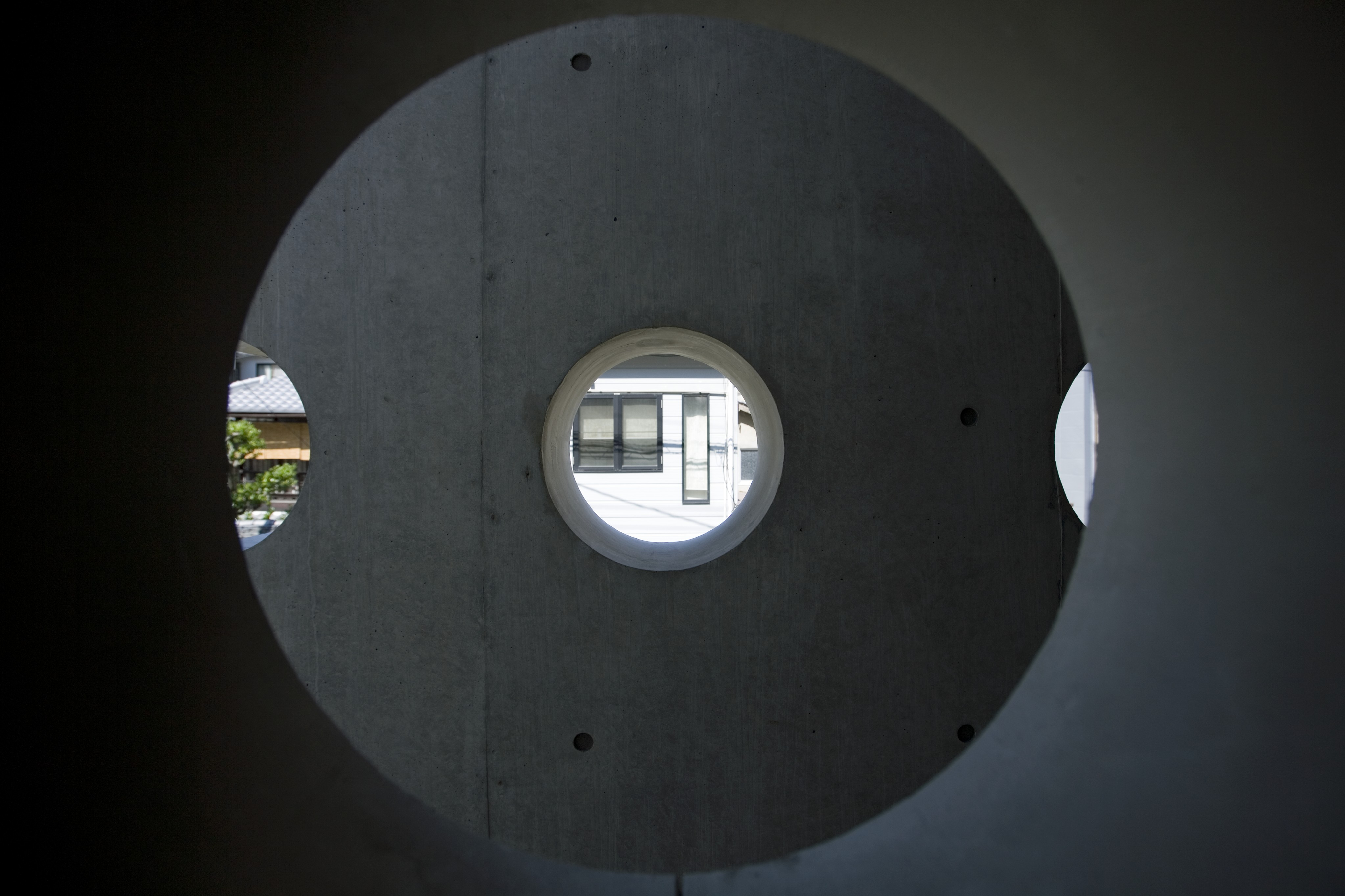 Here we have a view through an interior port hole to one of the outer, protective wall holes.