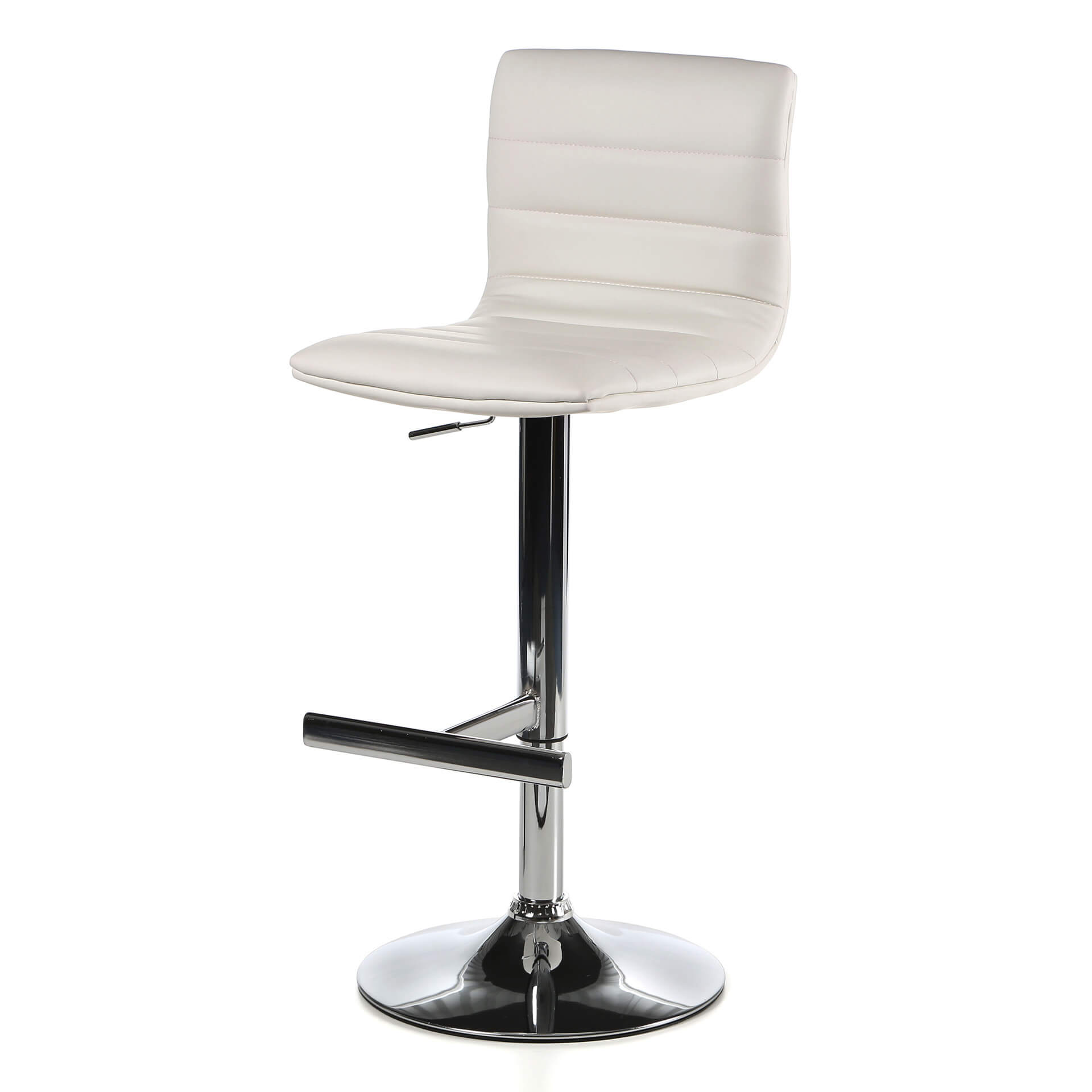 This is a more substantial modern stool design with high back and thick T-bar foot stool. The base's main support post is also think creating a heft not seen with many other modern stool designs. The seat is upholstered in white leatherette.