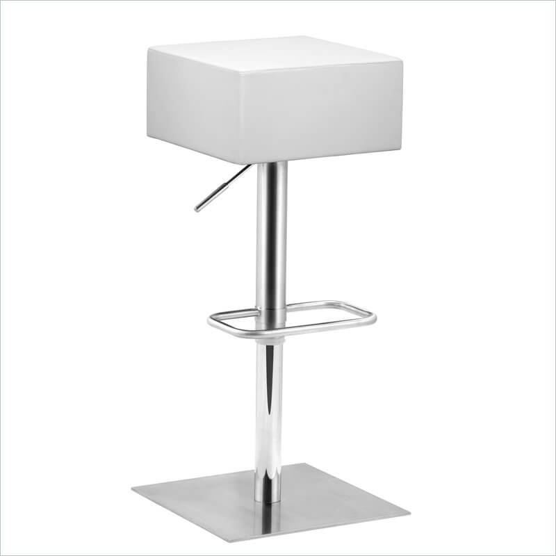 The obvious distinguishing feature of this modern stool is the large chunky square seat that's upholstered in white leatherette.