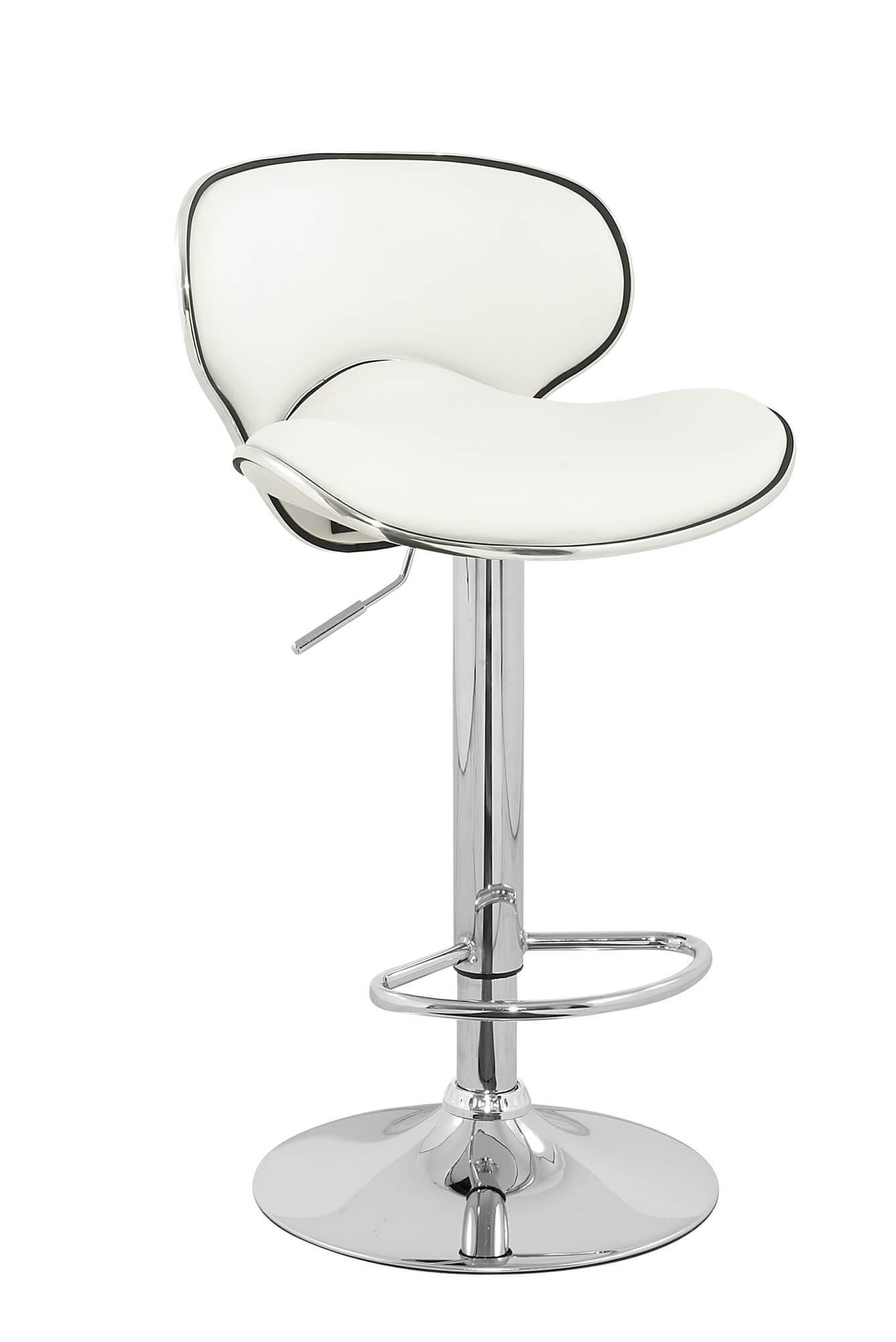 Modern white stool with chrome-finished pedestal base.