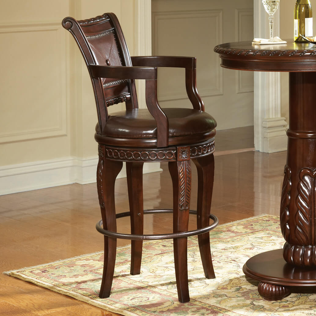 Elegant brown stool with rich brown leather seat and ornate solid wood back.