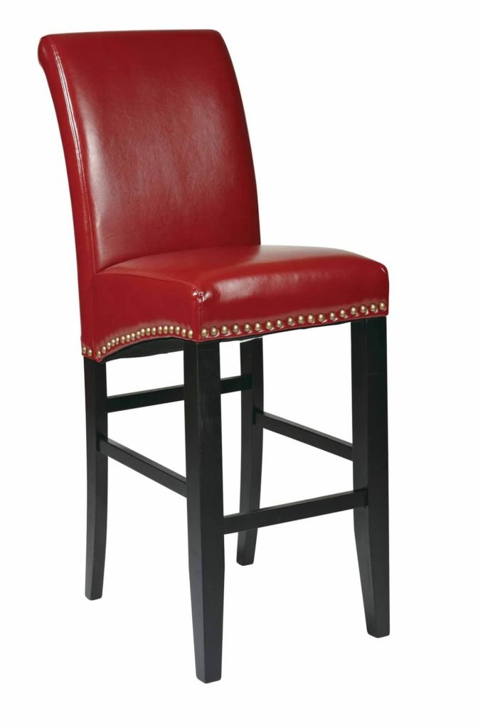 Red upholstered armless counter stool with red back.