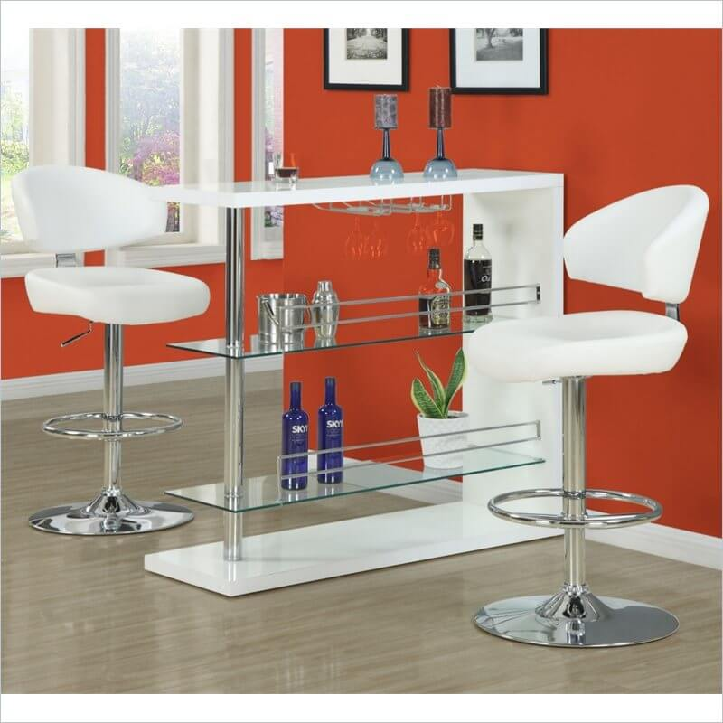 This stool is upholstered with white faux leather. The contoured seat and back sit on a chrome pedestal base with a handle to adjust the stool up and down.