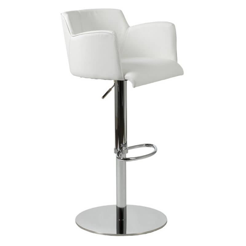 This pocket-style white modern leather bar stool offers decent seat support with arms and back. It adjusts from 21.5 inches to 30.5 inches.