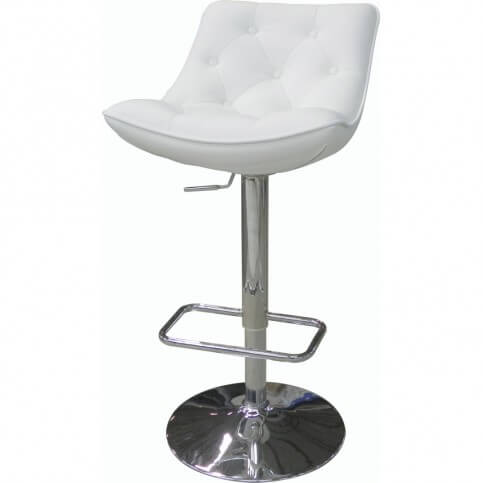 This stool offers a bucket-style seat upholstered in leatherette. It's a comfortable seat and well cushioned with a tufted design.