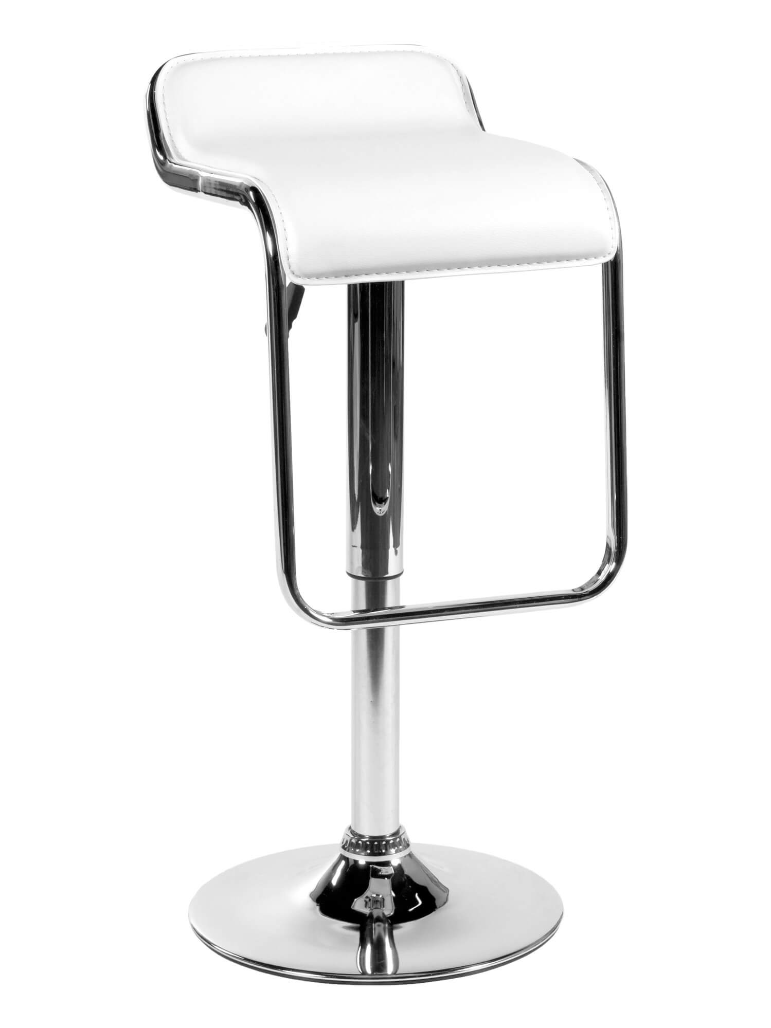 This modern stool design is unique in that the foot rest bar contours and forms a visible frame of the white leather upholstered low-back seat. It swivels and adjusts up and down.