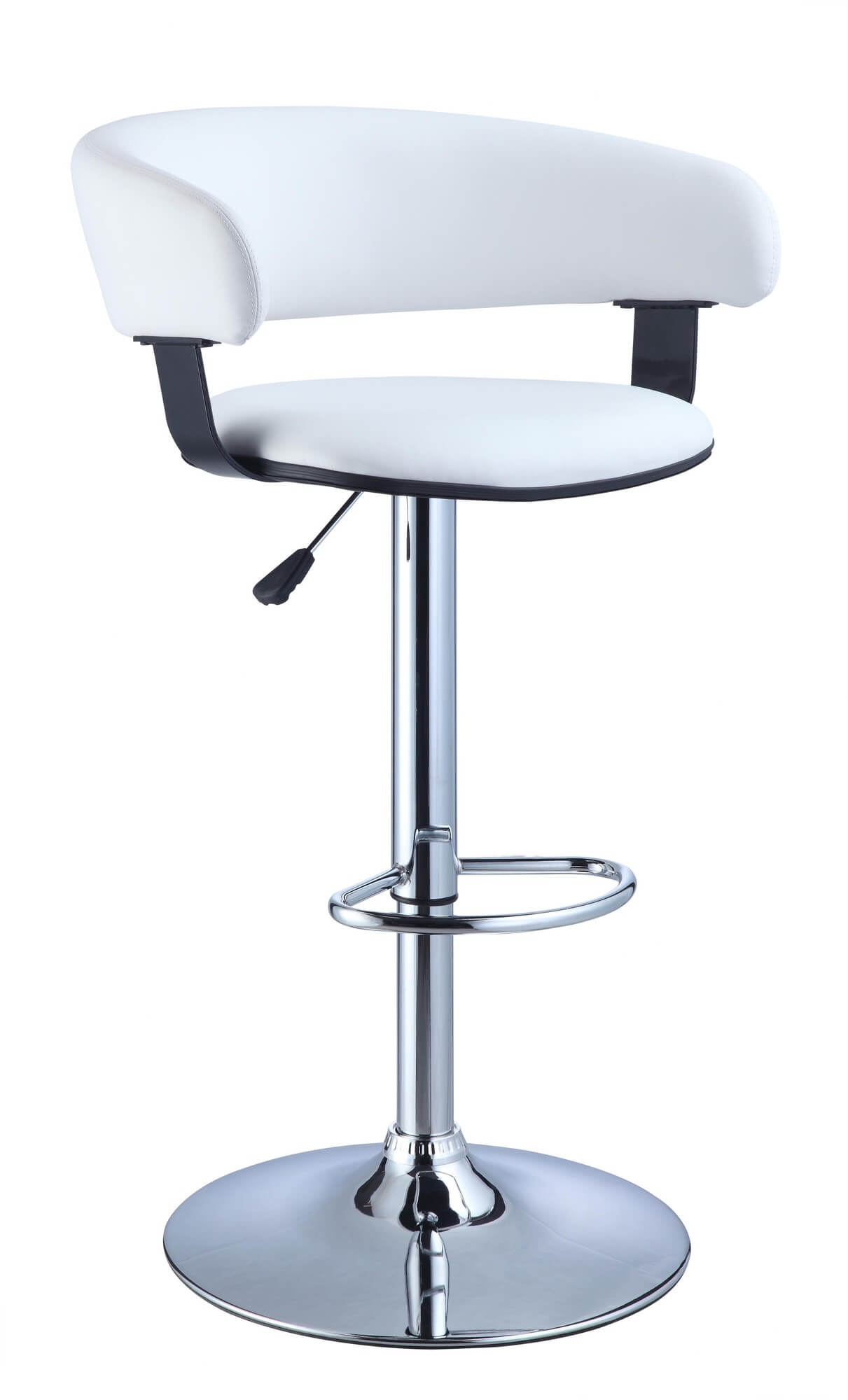 This white modern stool is designed with a contoured back that wraps around the occupant providing recessed arms as well. The upholstery is white faux leather.