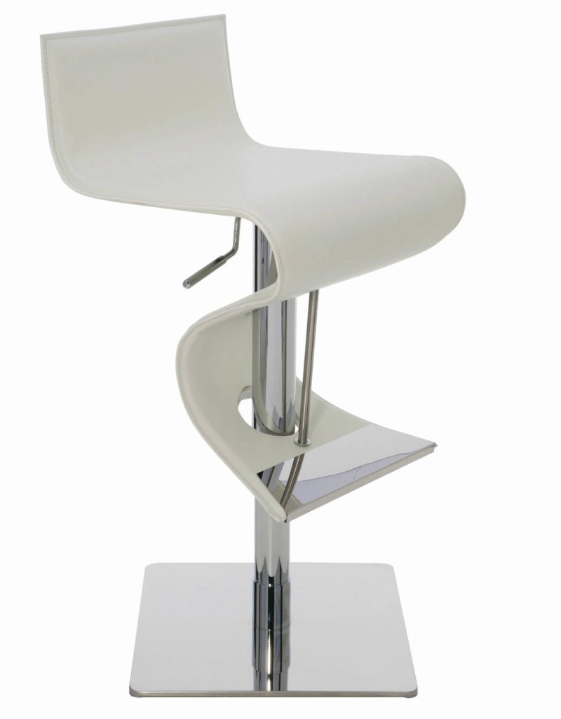 While this modern stool isn't the most comfortable, it's one of my favorite designs for a contemporary or modern space. I like the fluid and continuous seat and how it extends and curves to also form the foot rest. The seat material is leather.