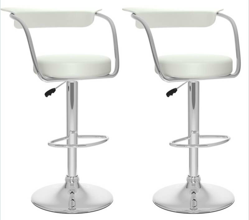 This set of 2 modern open-back stools are minimalist in design with a slight upholstered back and round cushioned seat.