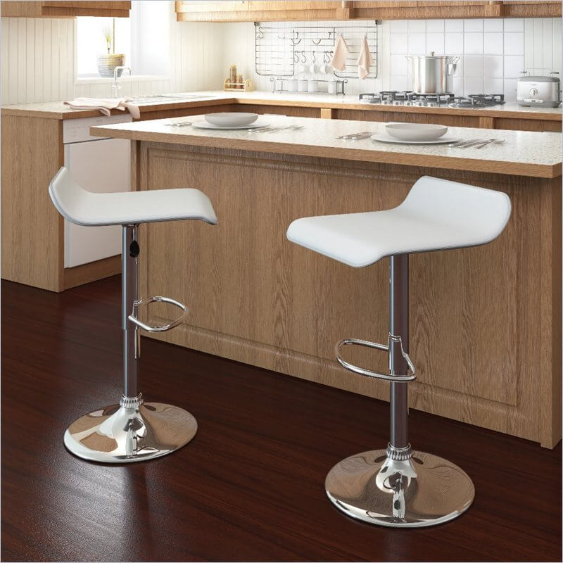 Like most adjustable stools, they work for both kitchen counter height as well as bar height. This inexpensive set of 2 stools offer a simple design with low back, white leatherette upholstered seat and round pedestal base.