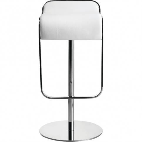 This is a true minimalist stool design with low back and narrow seat with no arms. The foot rest bar flows up and forms a visible frame/support for the seat offering a visual style mingling the white upholstery with a chrome frame.