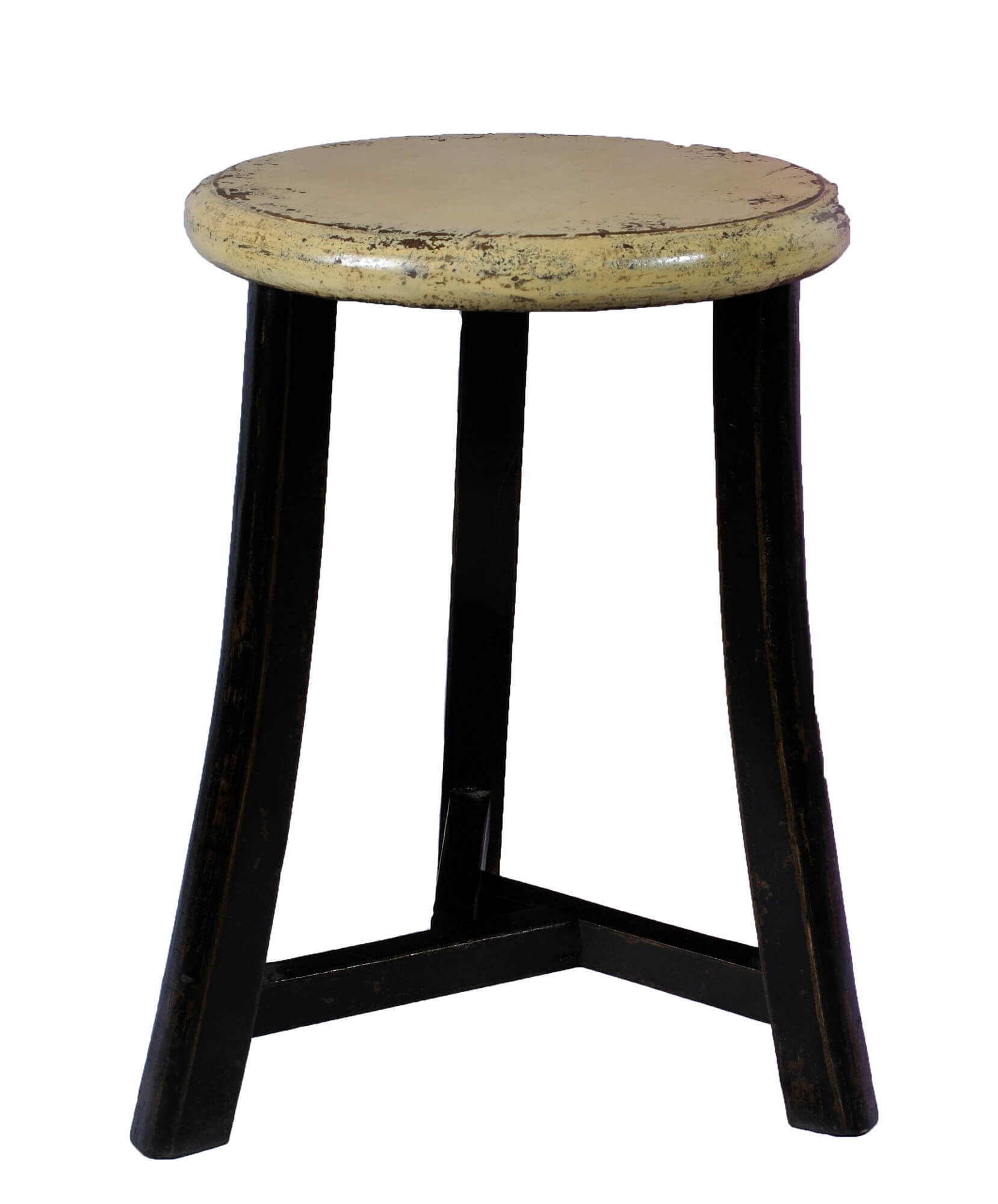 3-legged backless stool with round distressed seat.