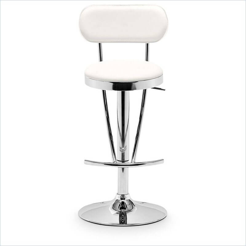 I love the long, sleek contoured lines of this stool. When looking at it head on, the foot rest support bars angle downwards to support a rounded foot rest. Those same vertical bars form the support for the back creating long, continuous lines extending nearly the entire height of the stool.