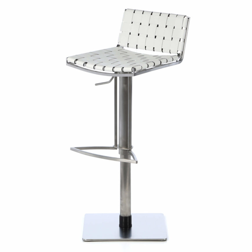 This modern stool design offers a weave design with the upholstery for both seat and back. It adjusts up and down sitting on a square base.