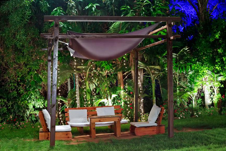 Garden patio with pavilion.