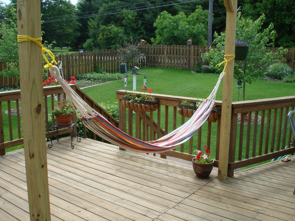 DIY hammock on a deck.