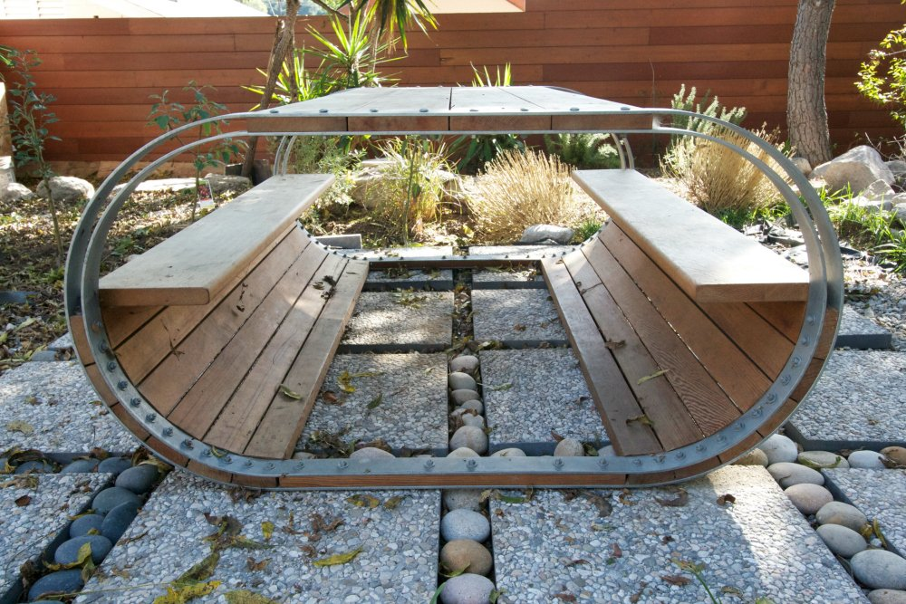Rounded picnic table.