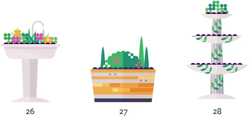 Pictures of 3 types of garden containers