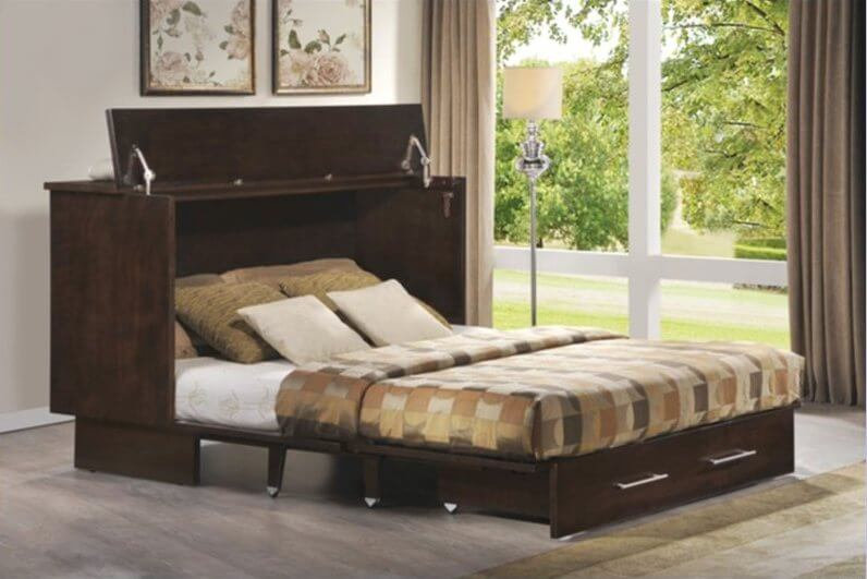 A folding bed has a hinged frame, allowing the bed to be stored in a much smaller space. These are often used in guest bedrooms and spaces where the bed will not be used regularly. Some examples fold on a wheeled frame, to put put in closets, while others fold into enclosures meant to be displayed.