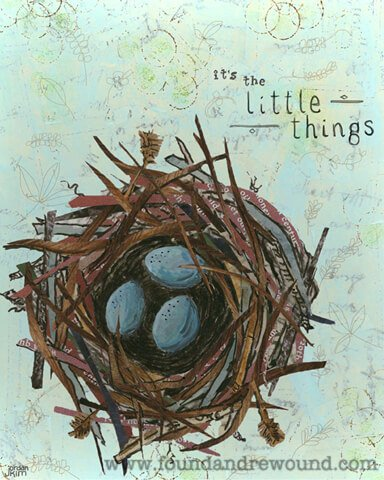 """Mixed media collage by Jordan Kim of Found & Rewound features a bird nest with blue eggs and the quote """"It's the Little Things"""". Cool wall art for any room."""