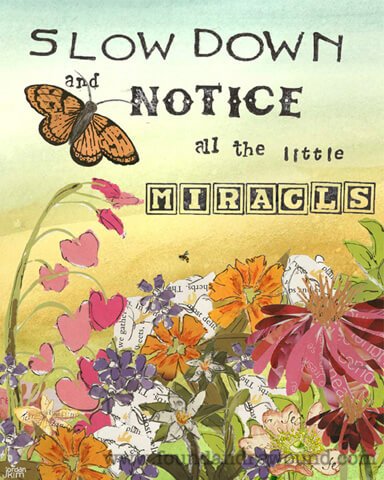 """Inspirational art by Jordan Kim of Found & Rewound features collage of butterfly and flowers with the quote, """"Slow Down & Notice all the Little Miracles"""""""