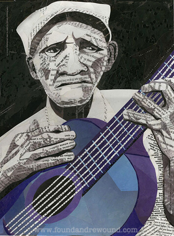Blues art by Jordan Kim of Found & Rewound created with cut maagazine paper. This piece features a black & white blues musician holding a blue guitar.
